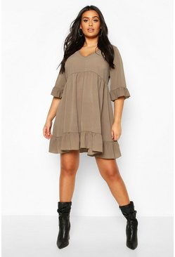 Khaki Plus Ruffle Smock Dress