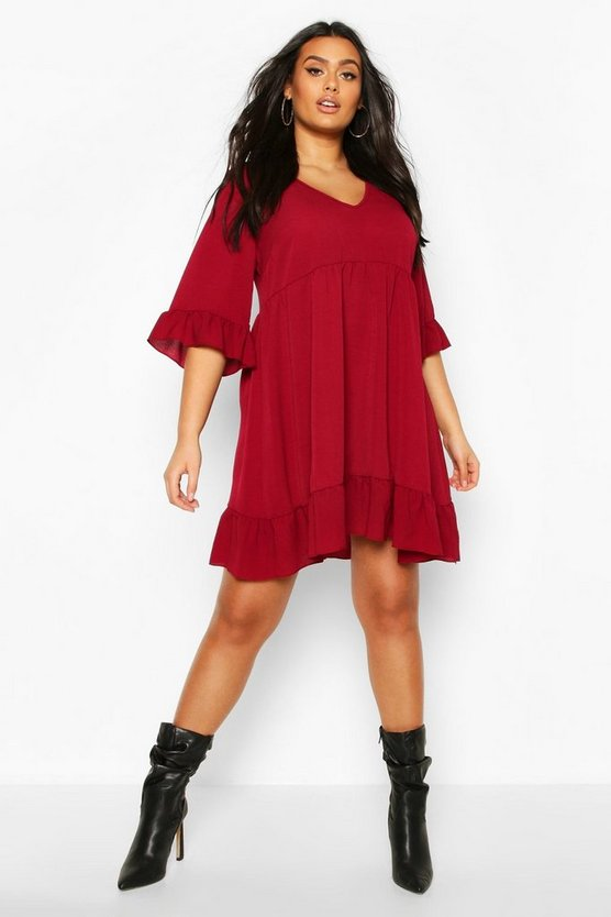 Wine Plus Ruffle Smock Dress