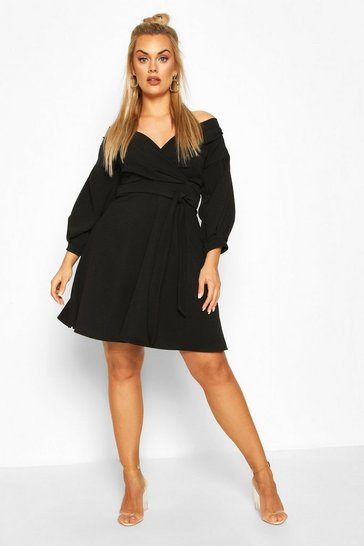 Black Plus Off The Shoulder Skater Dress
