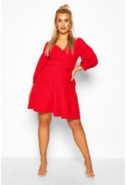 Red Plus Off The Shoulder Skater Dress
