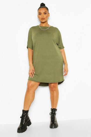Khaki Plus Oversized T-Shirt Dress