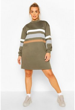 Khaki Plus Stripe Oversized Contrast Sweat Dress