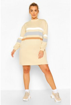 Stone Plus Stripe Oversized Contrast Sweat Dress