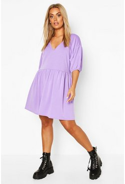 Lilac Plus Puff Sleeve Smock Dress