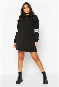 Black Plus Stripe Sleeve Slogan Sweat Dress