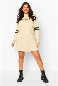 Stone Plus Stripe Sleeve Slogan Sweat Dress