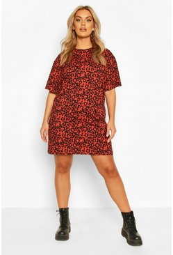 Rust Plus Rib Animal Print T-Shirt Dress