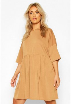 Camel Plus Hooded Smock Sweat Dress