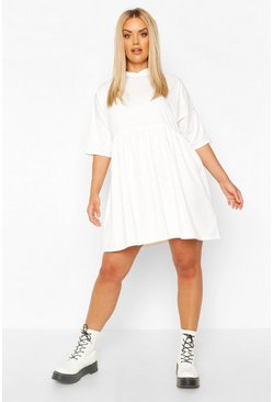Ecru Plus Hooded Smock Sweat Dress