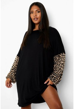 Black Plus Leopard Sleeve T-Shirt Dress