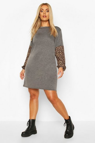 Charcoal Plus Leopard Sleeve T-Shirt Dress