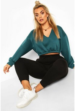Teal Plus V-Neck Sweat