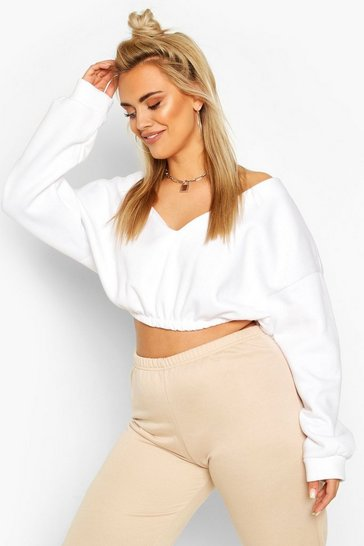 White Plus V-Neck Sweat