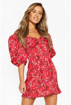Red Petite Ditsy Floral Puff Sleeve Mini Dress