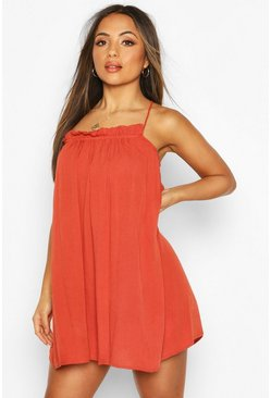 Terracotta Petite Cheesecloth Ruffle Swing Dress