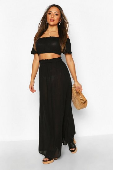Black Petite Cheesecloth Off Shoulder Top & Maxi Co-Ord