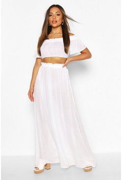 White Petite Cheesecloth Off Shoulder Top & Maxi Co-Ord