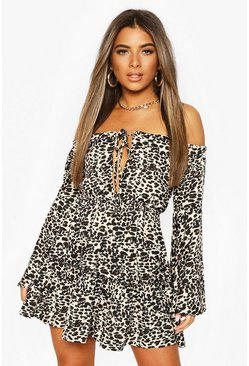 Brown Petite Leopard Print Off Shoulder Dress