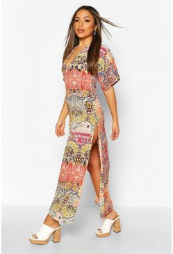 Orange Petite Paisley Kimono Maxi Dress