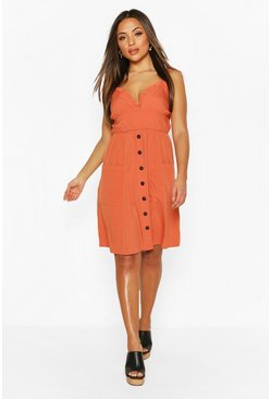 Spice Petite Ruffle Plunge Pocket Midi Dress