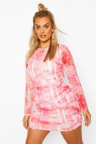 Pink Plus Mesh Ruched Bodycon Mini Dress