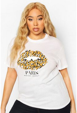 White Plus Paris Leopard Lips Slogan T-shirt