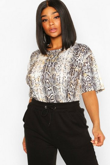 Grey Plus Snake Print Oversized T-shirt