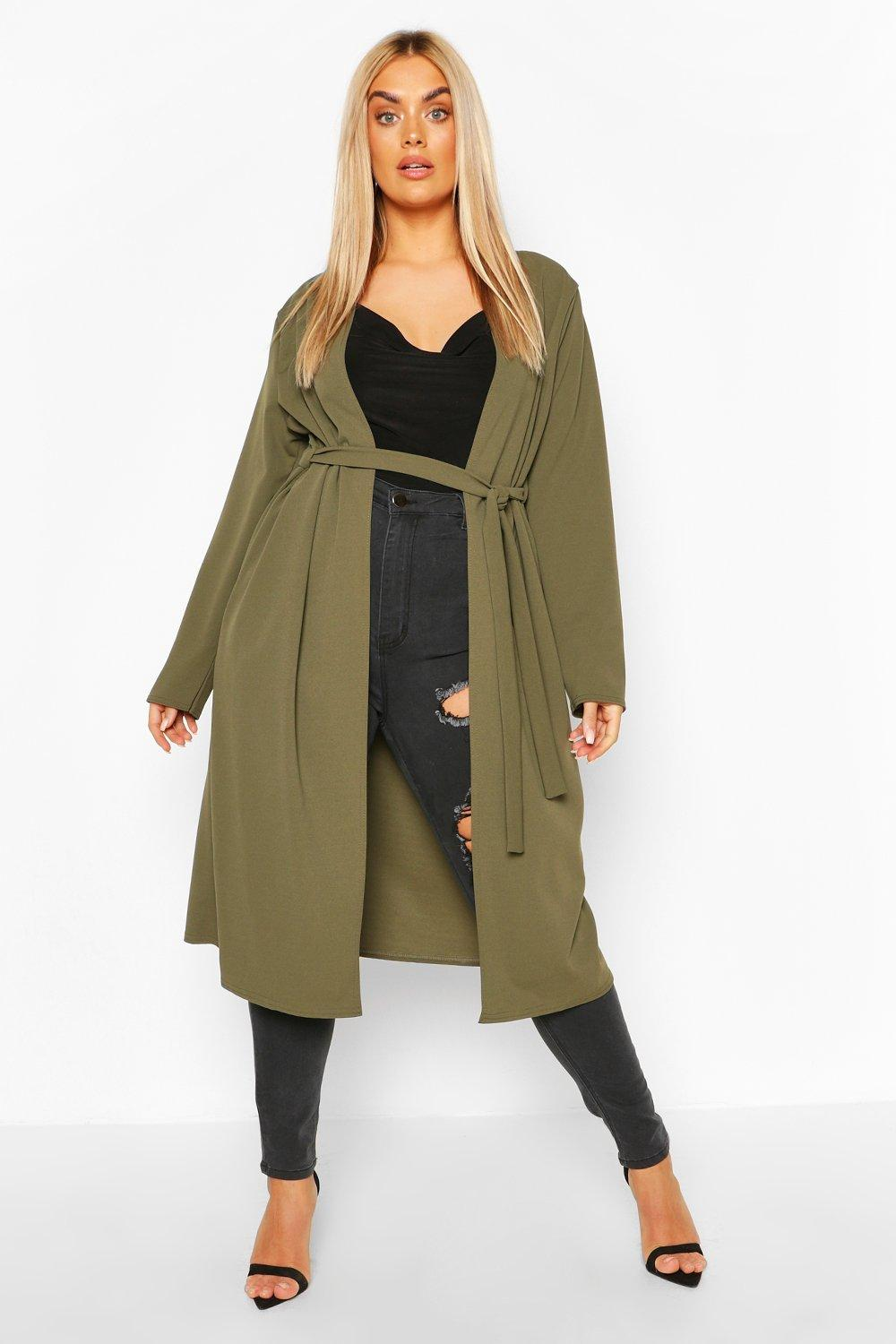 Plus Ruched Belted Duster Coat 8