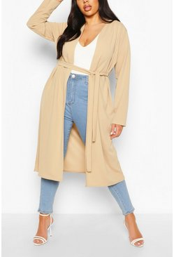 Stone Plus Ruched Belted Duster Coat