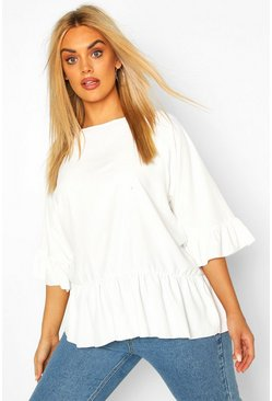 Ivory Plus Drop Hem Woven Smock Top