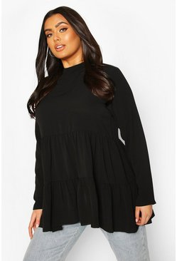 Black Plus High Neck Smock Top