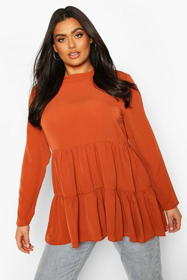 Rust Plus High Neck Smock Top