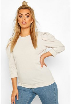 Grey Plus Puff 3/4 Sleeve Sweat