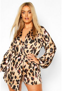 Brown Plus Satin Leopard Skort Playsuit
