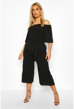 Black Plus Belted Culotte Jumpsuit