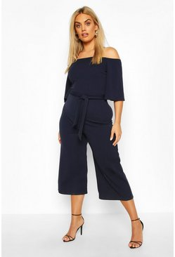 Navy Plus Belted Culotte Jumpsuit