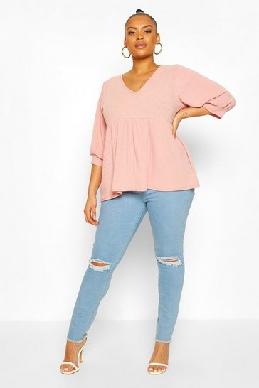 Soft pink Plus Puff Sleeve Rib Smock Top