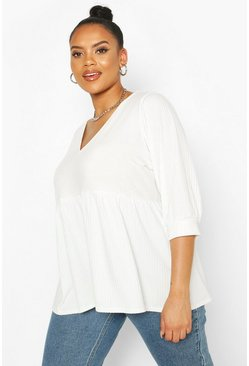 White Plus Puff Sleeve Rib Smock Top