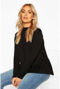 Black Plus High Neck Tunic Smock Top