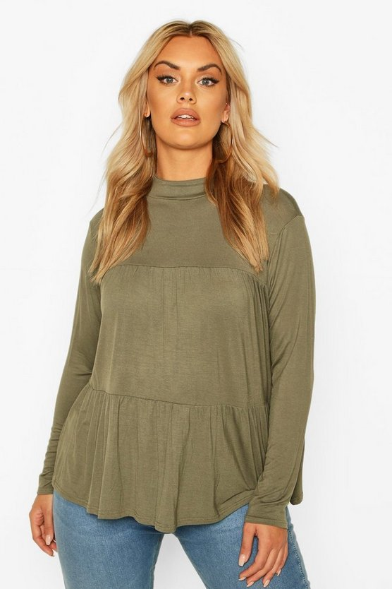 Khaki Plus High Neck Tunic Smock Top