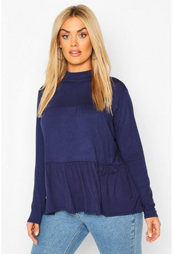 Navy Plus High Neck Tunic Smock Top