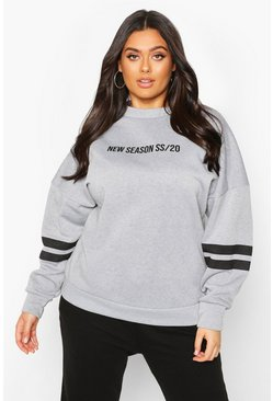 Grey Plus Stripe Arm Oversized Sweat