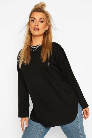 Black Plus Cotton Oversized Curve Hem T-shirt