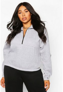 Grey marl Plus Zip Front Oversized Crop Sweat