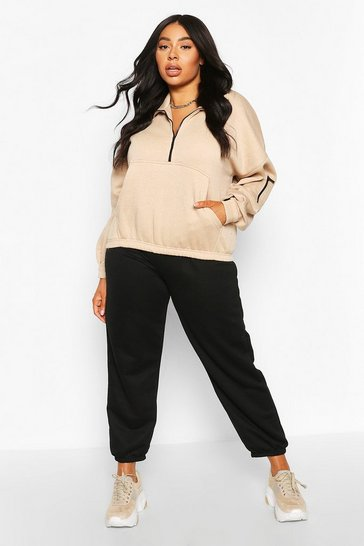 Sand Plus Zip Front Oversized Crop Sweat