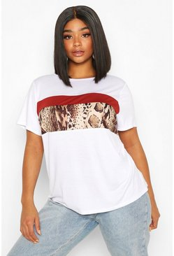Camiseta con colores en bloque y estampado de leopardo Plus, Blanco