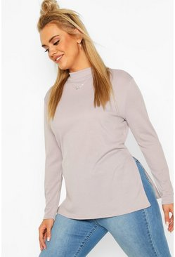 Grey Plus Split Hem Tunic Top