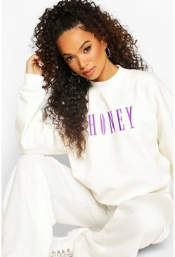 "Ivory Petite - ""Honey"" Sweatshirt med broderad slogan"