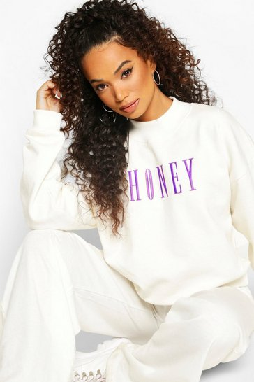 Ivory Petite Honey Slogan Embroidered Sweat