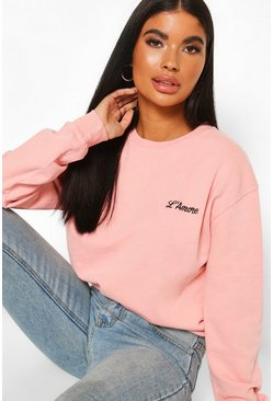 Pink Petite Pocket Slogan Acid Wash Sweat
